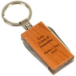 Engraved Rosewood and Stainless Steel Key Chain Multi-Tool