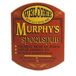 Personalized Sportspub Welcome Plaque