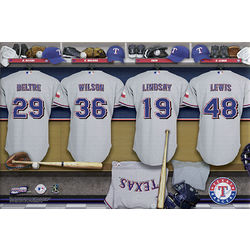 Large Personalized Texas Rangers Locker Room Canvas Print