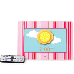 Pink Candy Stripe Photo Clock Sleep Solution for Kids