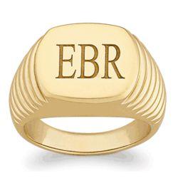 Mens Engraved Polished Ridged Signet Ring