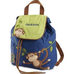 Boy Monkey Quilted Backpack