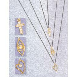 Miniature Gold Vermeil and Petite Cubic Zirconia Pendant