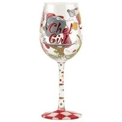 Chef Girl Wine Glass