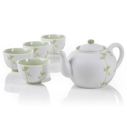 Bamboo Porcelain Teapot and Tea Cups