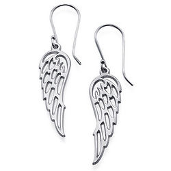 Angel Wing Earrings in Silver