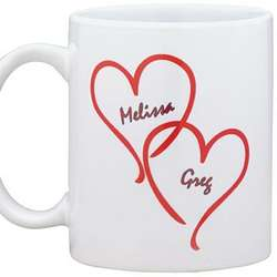 Personalized Interlocking Hearts Coffee Mug