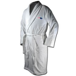 New England Patriots White Terrycloth Logo Bathrobe