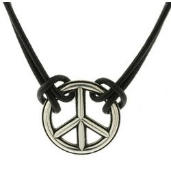 Black Leather Bali Style Peace Necklace