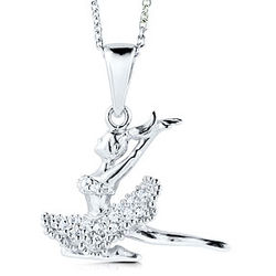 Sterling Silver Dancing Girl Pendant Necklace in Cubic Zirconia