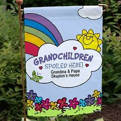 Personalized Grandchildren Spoiled Here Garden Flag