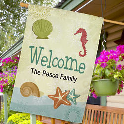 Personalized Seashells Welcome House Flag