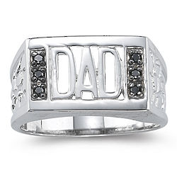 Dad Black Diamond Ring in Silver