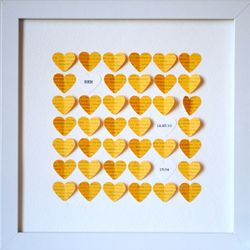 Personalized Yellow Hearts Shadow Box Frame