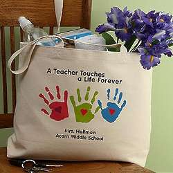 Personalized Handprint Tote Bags for Teachers