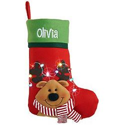 Personalized Green Cuff Reindeer Christmas Stocking