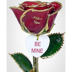 24K Gold Trimmed Preserved Rose and Engraved Heart Tag