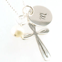 Cross with Personalized Hand-Stamped Pendant Necklace