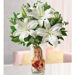 Custom Photo Vase with White Lilies