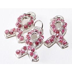 Rhinestone Pink Ribbon Charms