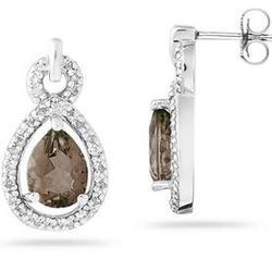 Pear Shaped Smokey Quartz and Diamond Earrings in White Gold