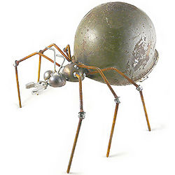 Army Ant Recycled Helmet Garden Sculpture