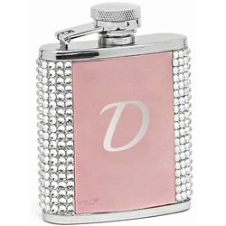 Engraved Pink Flask with Rhinestones