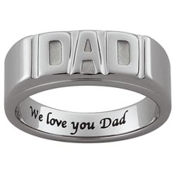 Mens Engraved Tungsten Dad Ring