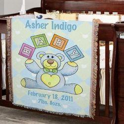 Personalized Baby Boy Teddy Bear Blanket