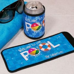 Personalized Welcome to Our Pool Can Wrap Koozie