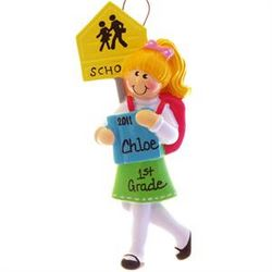 Blonde School Girl with Backpack & Books Ornament