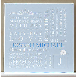 Personalized Baby Boy Blue Birth Canvas Artwork