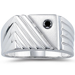 Silver Black Diamond Men's Ring