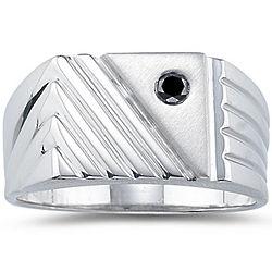 Silver Black Diamond Men's Ring