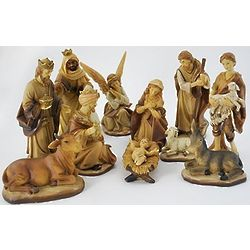 Earth Tone Nativity Set with Gold Accents