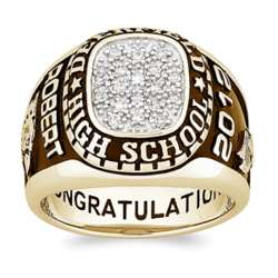 Men's 18 Karat Gold Over Sterling Silver Traditional Class Ring
