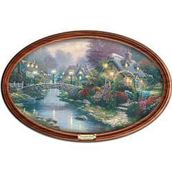 Thomas Kinkade Framed Lamplight Bridge Collector Plate
