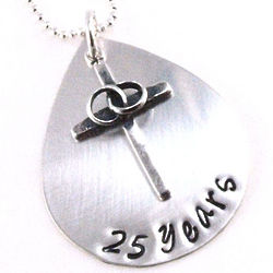 Anniversary Wedding Cross Personalized Hand-Stamped Necklace