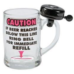 Caution Beer Mug with Bell
