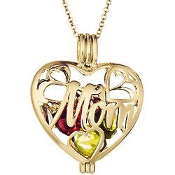 Mom 6mm Round Birthstone Gold Heart Locket