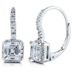 Sterling Silver Leverback Earrings in Asscher Cubic Zirconia