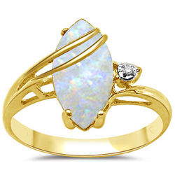 Diamond Accent and Opal Ring in 14K Yellow Gold