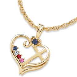 Gold Over Sterling Silver 4 Birthstone Heart Cross Necklace