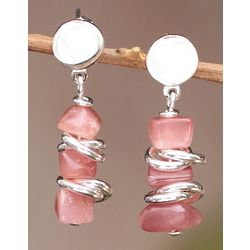 Dawn Sky Rhodochrosite Dangle Earrings