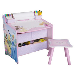 Disney Princess Art Desk with Paper Roll, Wipe Board, and Storage