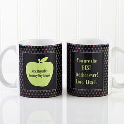 Green Apple Personalized Teacher Coffee Mug