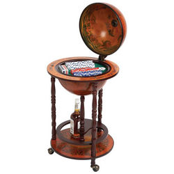 Royal Flush Liquor Globe and Poker Set