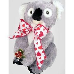 Koala Bear with Preserved Gold Leaf Rose