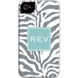 Gray Zebra Print Personalized Cell Phone Case