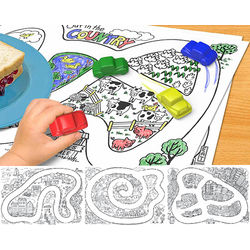 Kid's Drive Thru Crayons and Placemat Set